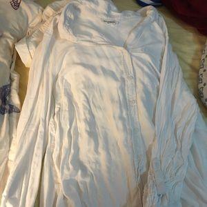 White Flowy Button Down Shirt